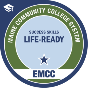 eastern maine community college - life ready badge logo