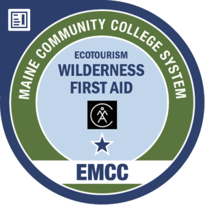 eastern maine community college - wilderness and first aid AMC badge logo